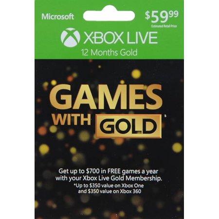 Microsoft Xbox Live 12 Month Gold Membership XBOX 12MO GAMES W/GOLD 2015
