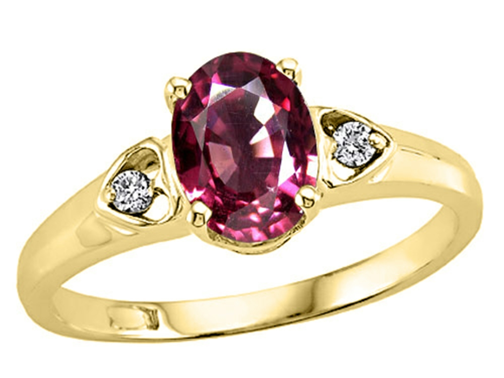 Tommaso Design Oval 7x5mm Genuine Pink Tourmaline Ring by