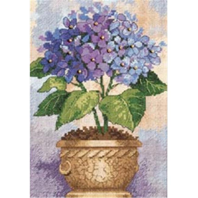273405 Gold Collection Petite Hydrangea In Bloom Counted Cross Stit-5 in. x 7 in.