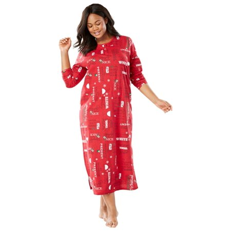Dreams & Co. Plus Size Holiday Print - Holiday Nightgown