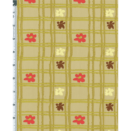 Green Nel Whatmore Eden Picnic Check Print Cotton, Fabric By the Yard