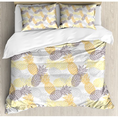 Fruits Queen Size Duvet Cover Set, Soft Toned Exotic Pineapple Figures Tropical Diet Food Artistic Illustration, Decorative 3 Piece Bedding Set with 2 Pillow Shams, Marigold Dimgray, by
