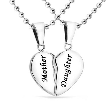 Mother Daughter Split Broken Puzzle Heart Break Apart 2 PCS Pendant Necklace Women For Mom Silver Tone Stainless Steel ()