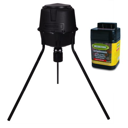 - Moultrie 30 Gallon Easy Programmable Quick Lock Tripod Game Feeder + 6V Battery