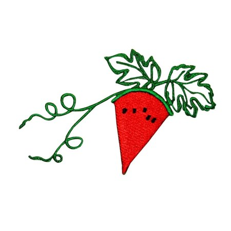 ID 1198 Watermelon Slice On Vine Patch Summer Fruit Embroidered Iron On Applique](Halloween Vine Watermelon)