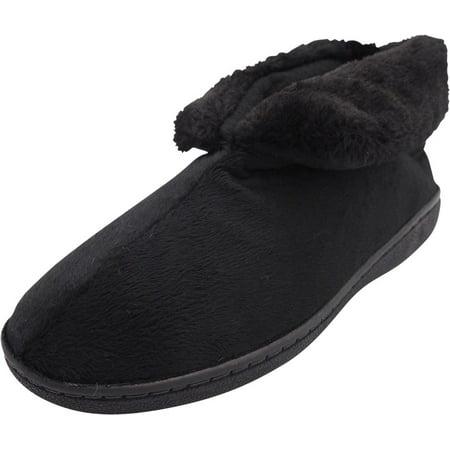 Norty Womens Faux Fur Memory Foam Slip On Bootie Slippers Shoe, 40808 Black / Medium