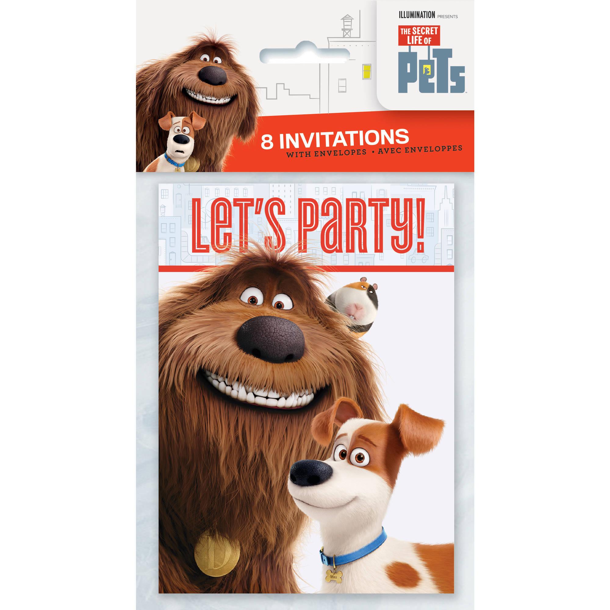 The Secret Life of Pets Invitations, 8ct