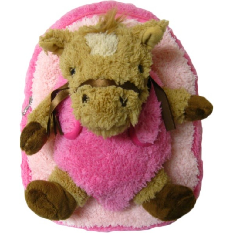 Kids Pink Race Horse Pony Animal Plush Toddlers Backpack