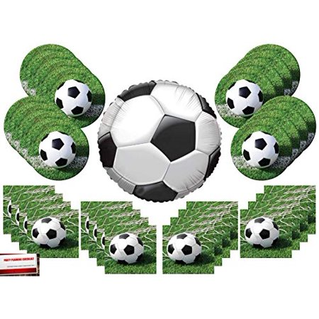 Soccer Ball Party Supplies Bundle Pack for 16 with 18 Inch Soccer Ball Balloon (Plus Party Planning Checklist by Mikes Super Store)](Soccer Pinata)