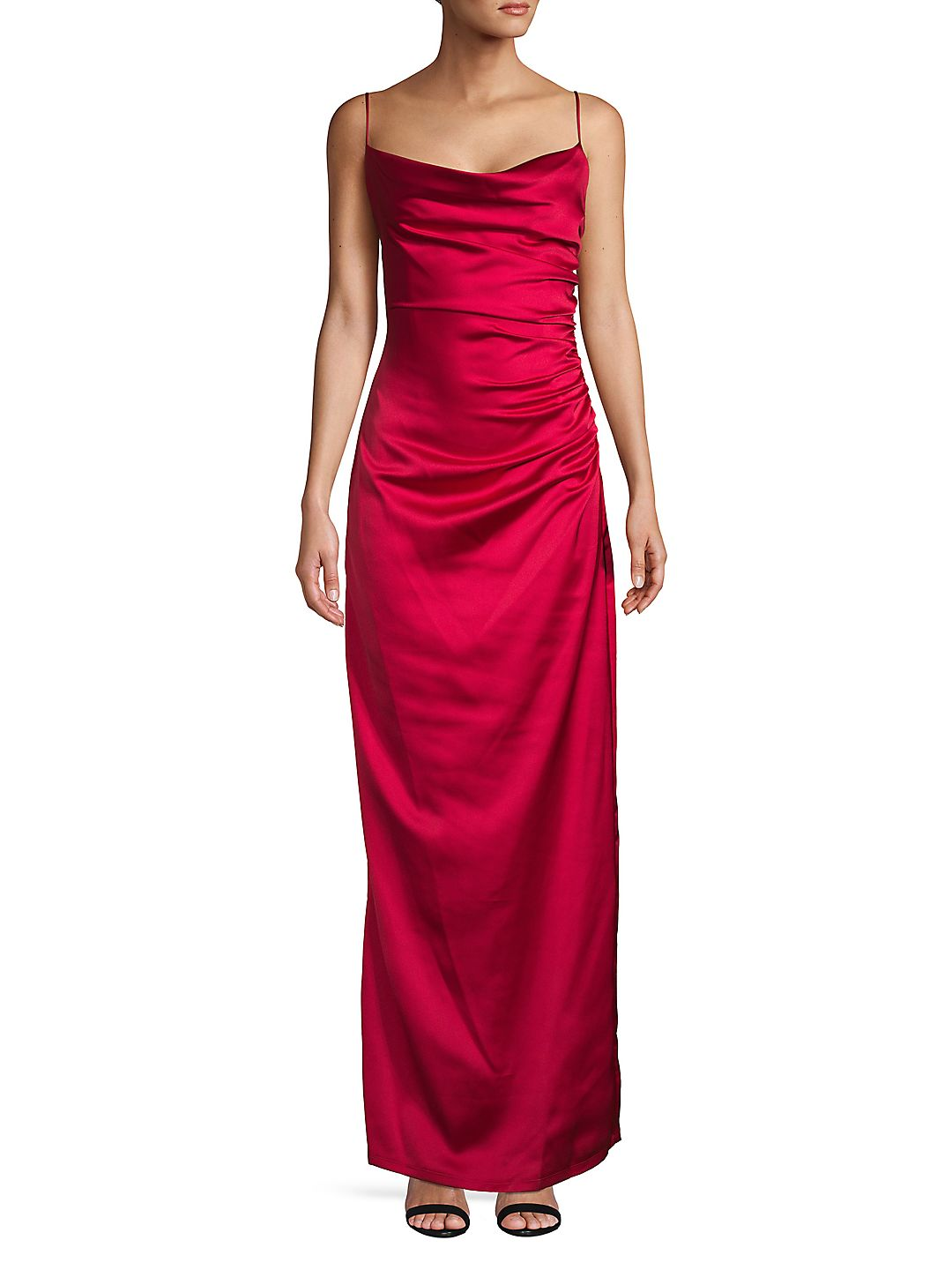 Satin Side Ruched Gown