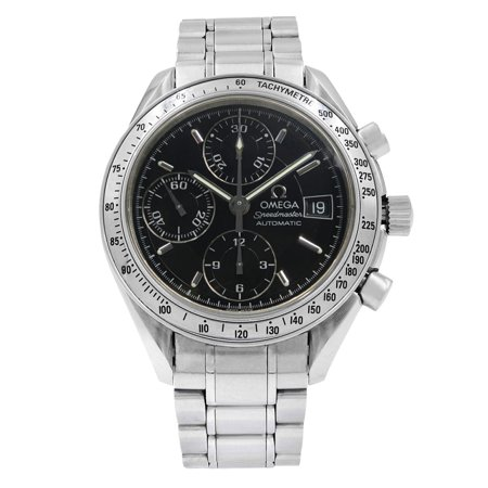 Pre-Owned Omega Speedmaster Black Sticks Dial Steel Automatic Mens Watch 3513.50.00