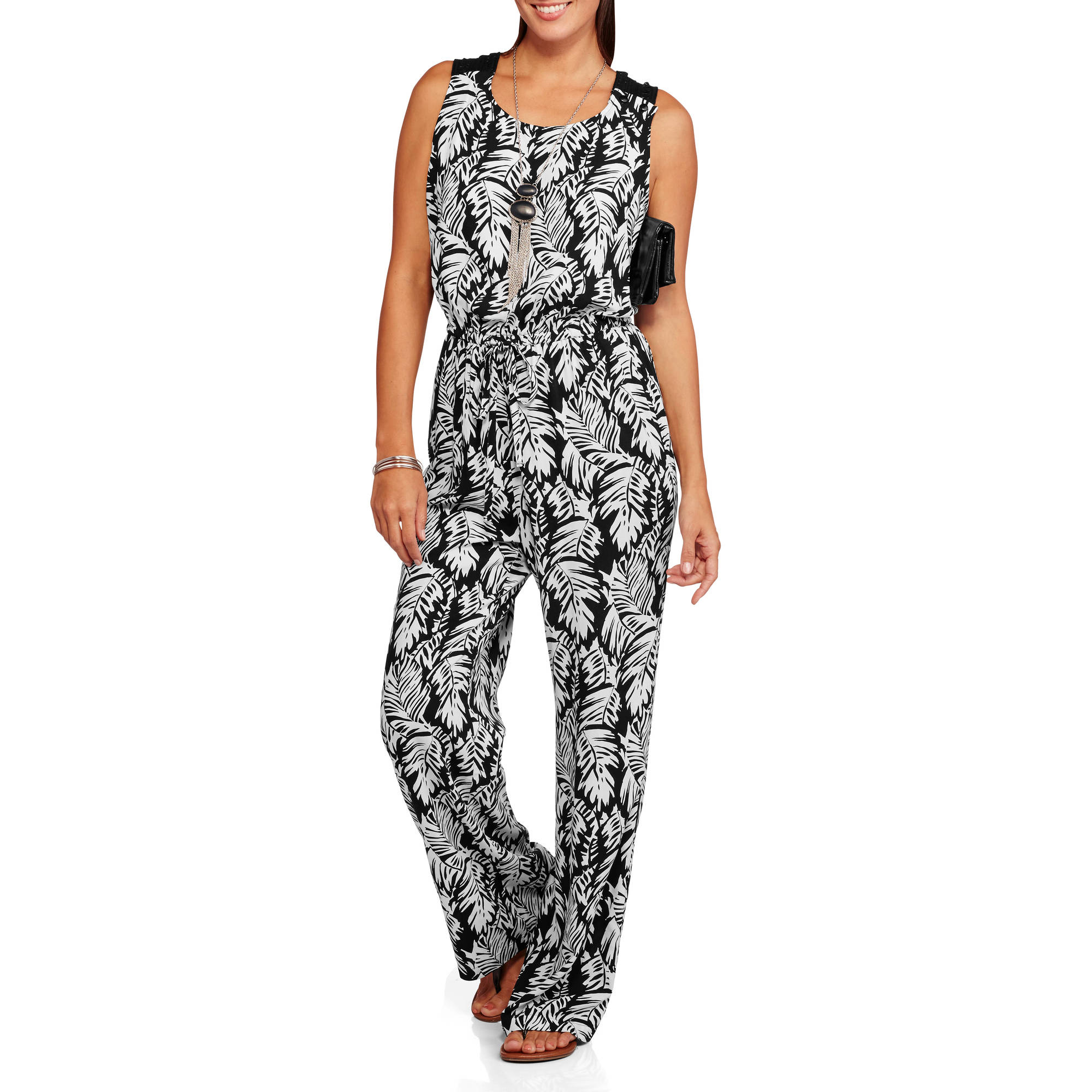 Ocean Pacific Women's Printed Jumpsuit with Open Shoulder Crochet