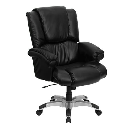 Flash Furniture Over-Stuffed Leather Executive Office Chair with Arms, Black ()