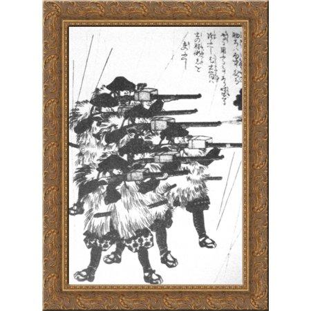 Lacquered boxes against rain 24x18 Gold Ornate Wood Framed Canvas Art by Utagawa Kuniyoshi