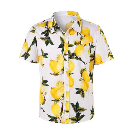 Hawaiian Party Shirts (Lemon Printed Hawaiian Shirt Mens Beach Short Sleeve Button Camp Party)