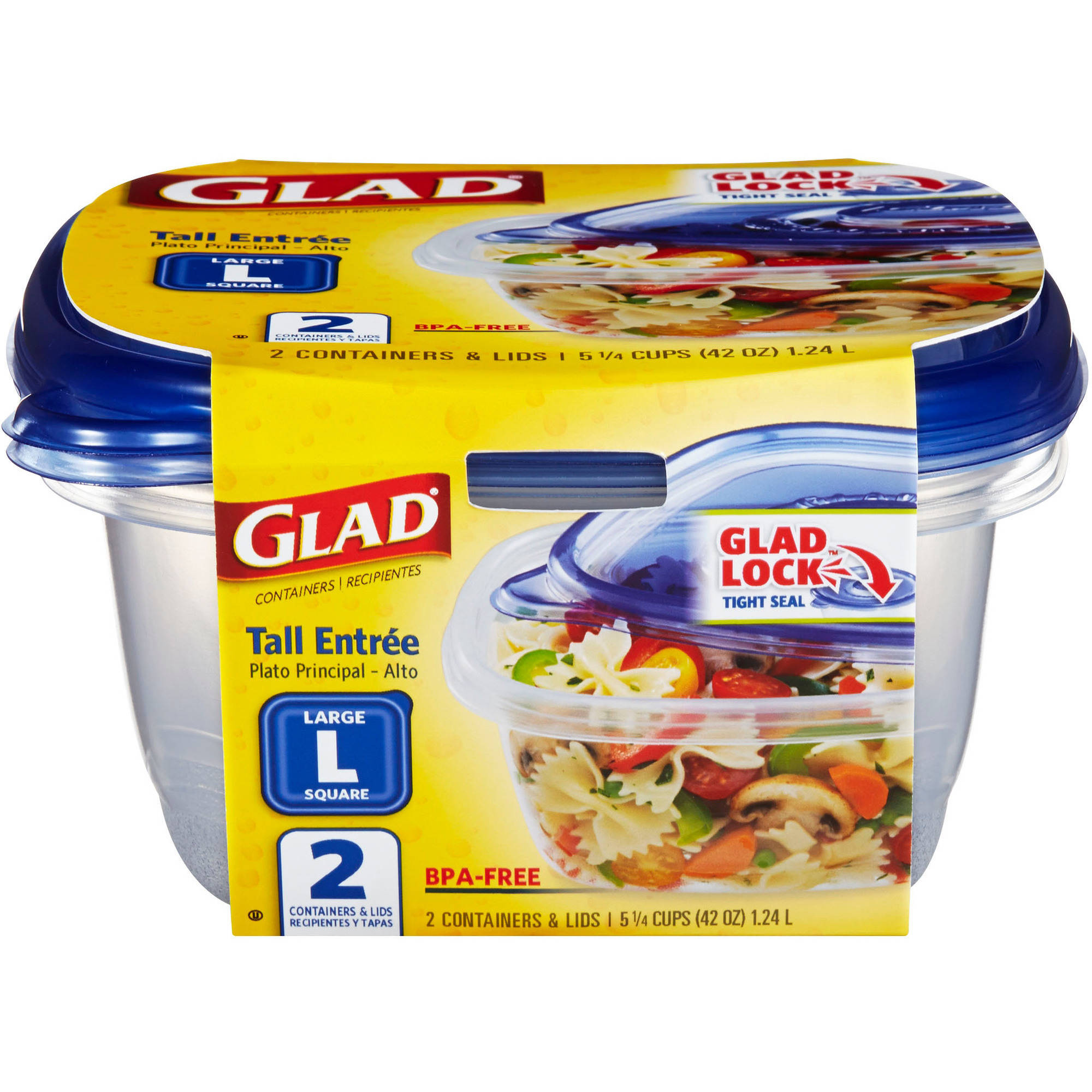 Glad Tall Entree Square Containers with Lids, Large, 2 count, BPA Free