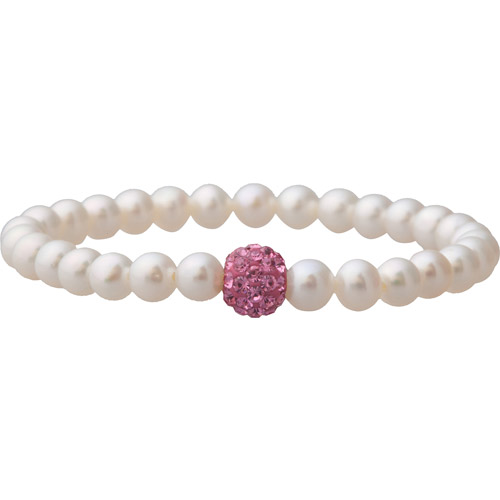 Pearl & Rose Crystal Stretch Bracelet