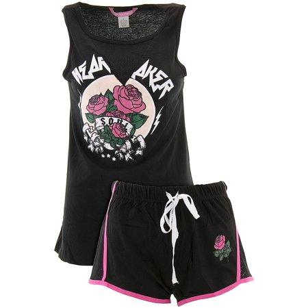 Love Loungewear Juniors Heart Breaker Black Shorty Valentines Pajamas - Valentines Pajamas