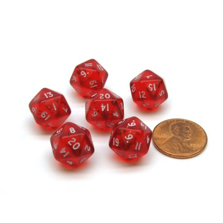 Translucent 12mm Mini 20-Sided D20 Chessex Dice, 6 Pieces - Red with White (Transparent Red Dice)