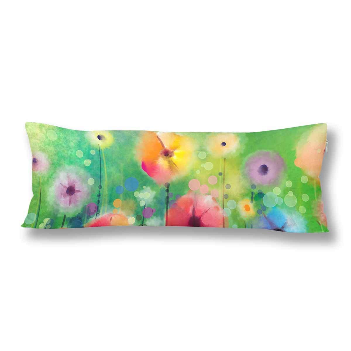 GCKG Spring Flower Seasonal Nature Body Pillow Covers Pillowcase 20x60 inches, Floral Watercolor Yellow Red Flower Body Pillow Case - image 2 de 2