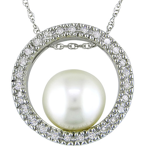 """9.5-10mm White Pearl and 1/5 Carat T.W. Diamond 10kt White Gold Pendant, 17"""""""