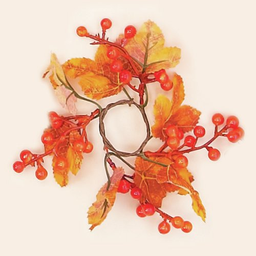 Worth Imports Maple Leaves/Berry Candle Ring (Set of 12)