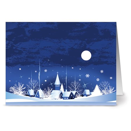 24 Holiday Note Cards - Silent Night - Blank Cards - White Envelopes - Night Holiday Card