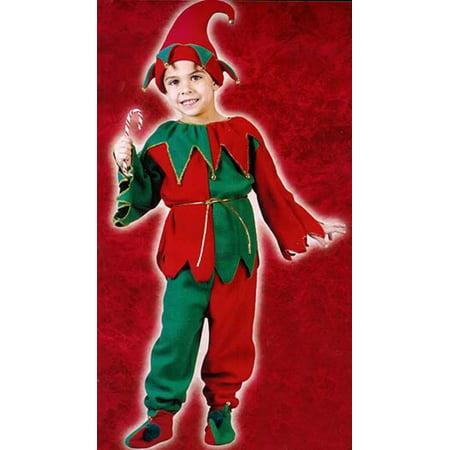 Red Elf Costume (Red and Green 6-Piece Children's Plush Christmas Elf Costume - Size Medium)