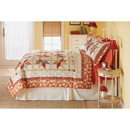 Better Homes Gardens Spice Twisted Star Fq Printed Quilt