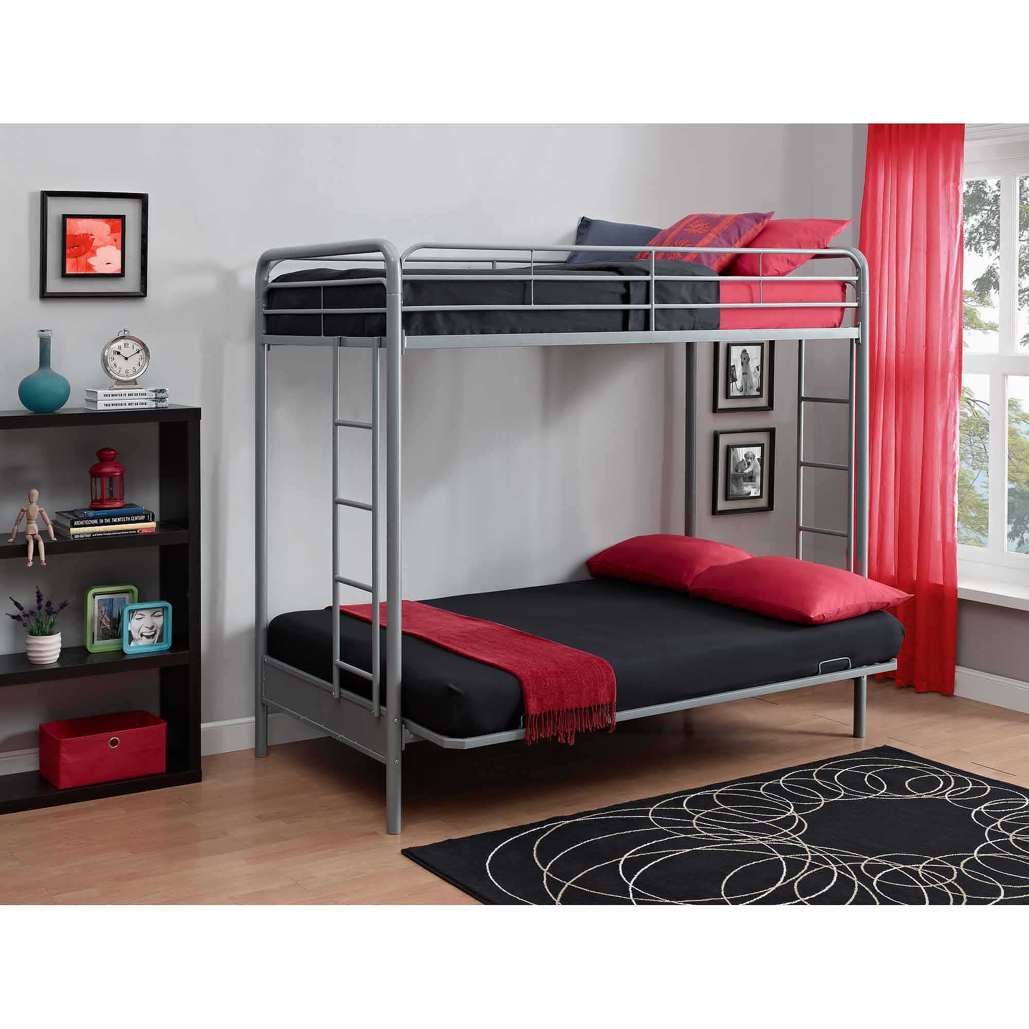 Dorel Home Products Twin over Futon Low Loft Bed with Built-In ...