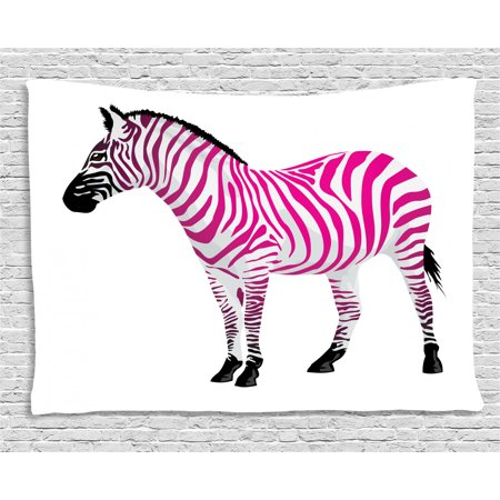 Pink Zebra Tapestry, Zebra Figure in Pink Stripes Savannah Animal  Wilderness Symbol Safari Print, Wall Hanging for Bedroom Living Room Dorm  Decor, 80W ...