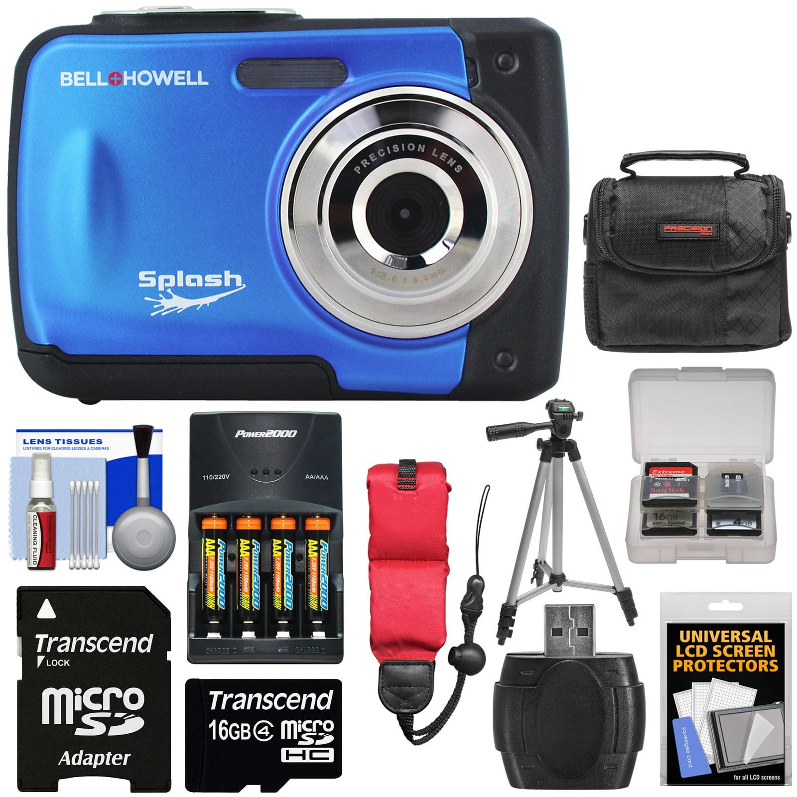 Bell & Howell Splash WP10 Shock & Waterproof Digital Camera (Blue) with 16GB Card + Batteries & Charger + Case + Tripod + Floating Strap + Reader + Kit