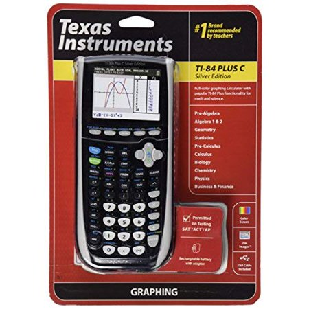 Refurbished Texas Instruments TI-84 Plus C Silver Edition Graphing Calculator Black