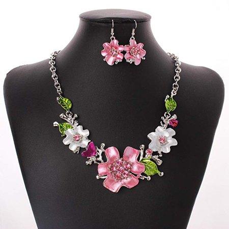 Fashion Sweet Chain Temperament Wild Flower Diamond Necklace Set Ornament Diamond Fashion Flower Pendant