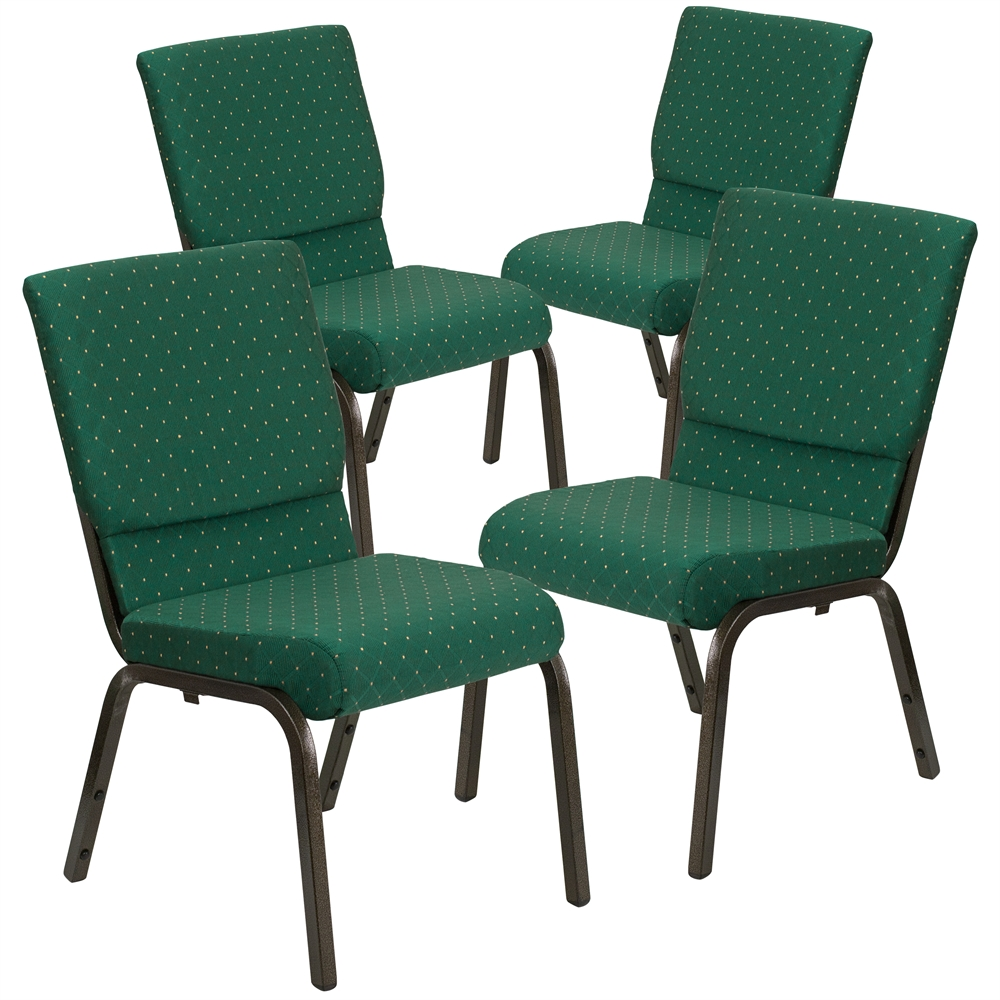 4 Pk. HERCULES Series 18.5''W Green Patterned Fabric Stacking Church Chair with 4.25'' Thick Seat - Gold Vein Frame