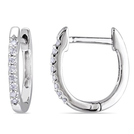 Miadora 10k White Gold 1 10ct Tdw Diamond Huggie Hoop Earrings