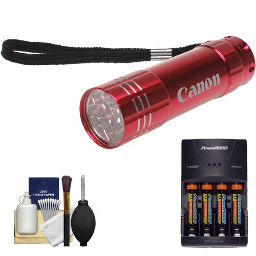 Canon 9 LED Push Button Flashlight (Red) with Batteries & Charger + Cleaning Kit for Rebel T2i, T3, T3i, T4i, EOS 60D, 7D, 5D Mark II III Digital SLR Camera