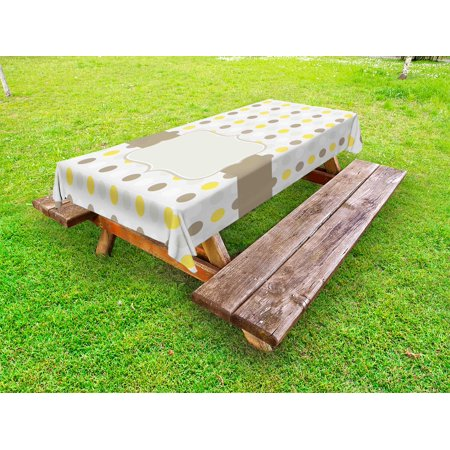 Grey and Yellow Outdoor Tablecloth, Abstract 60s 50s Inspired Home Design Polka Dots Image, Decorative Washable Fabric Picnic Table Cloth, 58 X 84 Inches,Pale Brown Marigold and White, by Ambesonne - 50s Table
