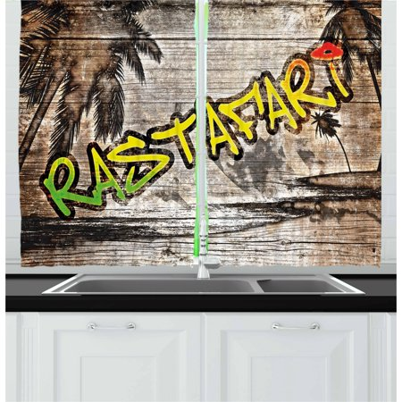 Rasta Curtains 2 Panels Set, Jamaican Reggae Music Icon Inspired Rastafari Street Graffiti Image, Window Drapes for Living Room Bedroom, 55W X 39L Inches, Brown Pale Green and Yellow, by Ambesonne ()
