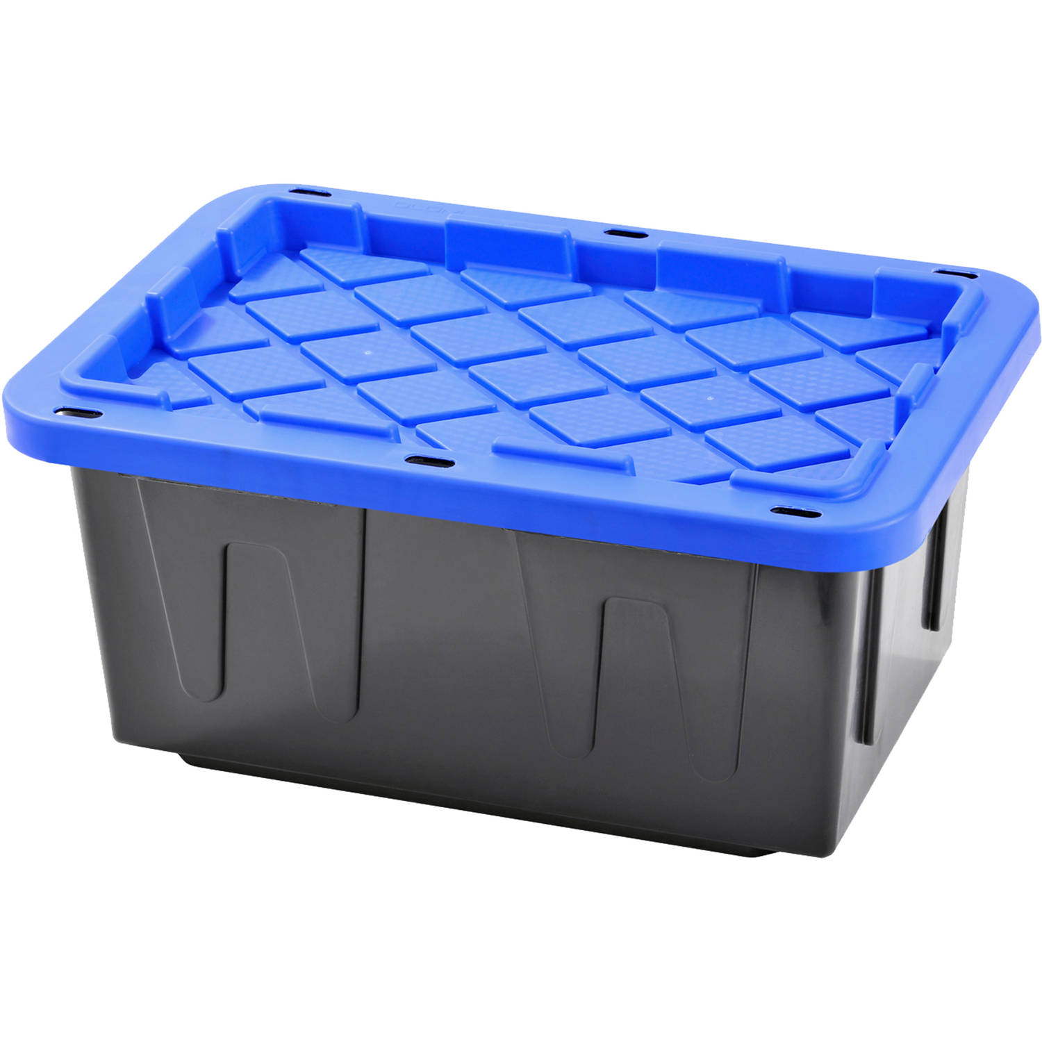 Plastic Heavy Duty Storage Tote Box, 15 Gallon, Black With Blue Snap Lid, Stackable, 4-Pack