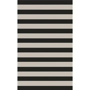 8' x 11' Tiown Light Gray and Midnight Blue Striped Hand Tufted Area Throw Rug