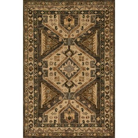 Alexander Home Hand-hooked Owen Walnut/ Beige Wool Rug (3'6 x 5'6)