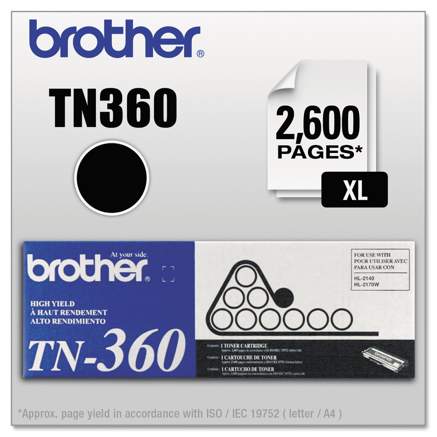 Brother TN360 High-Yield Toner, Black