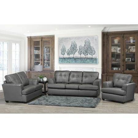 Stupendous Sofaweb Com Travis Premium Grey Top Grain Leather Sofa Loveseat And Chair Set Machost Co Dining Chair Design Ideas Machostcouk