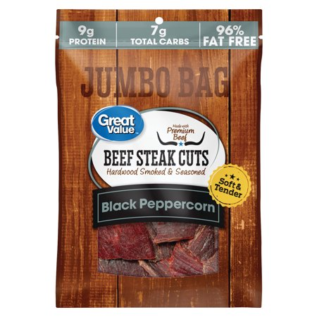 Great Value Soft & Tender Black Peppercorn Beef Steak Cuts Jumbo Bag, 5.85 -