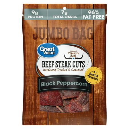 Great Value Soft & Tender Black Peppercorn Beef Steak Cuts Jumbo Bag, 5.85