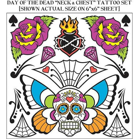 Sugar Skull Temporary Chest Tattoo Dia De Los Muertos Day Dead Costume - Sugar Skull Tatoo