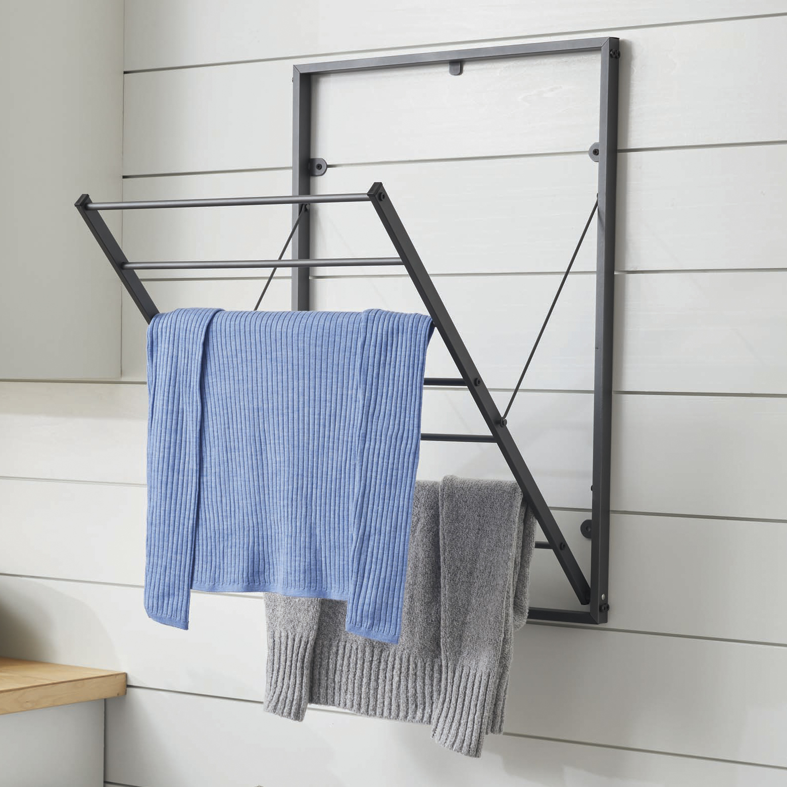 Better Homes & Gardens Charleston Collection Steel Wall Mounted Foldable Drying Rack Grey