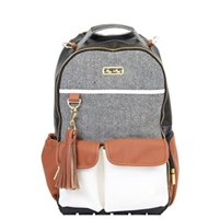 Itzy Ritzy Diaper Bag Backpack  Large Capacity Boss Backpack Diaper Bag Featuring Bottle Pockets, Changing Pad, Stroller Clips and Comfortable Backpack Straps, Coffee and Cream