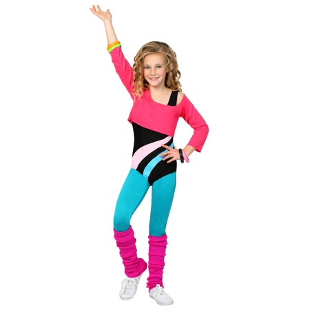 Child 80's Workout Girl Costume (80's Halloween Costume. Blow Up Head)
